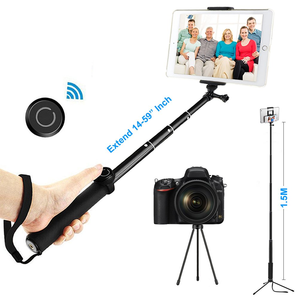 """ohCome Selfie Stick with Bluetooth Remote, 14-59"""" Handheld Aluminium Monopod with Tripod Stand and 2-in-1 Clip Holder Mount for 3.5-10"""" iPads, Tablets, iPhone, Android Phones, and Gopro Cameras"""