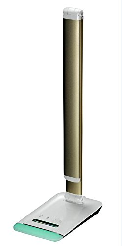 FOREKING Color Temperature Adjustable LED Desk Lamp,12W Table Light,Reading Lamp,Office lamp,5 Stages Touch Dimmable,LCD Calendar,Alarm Clock,Color Changeable Night Light (Gold, 12W CCT Adjustable)
