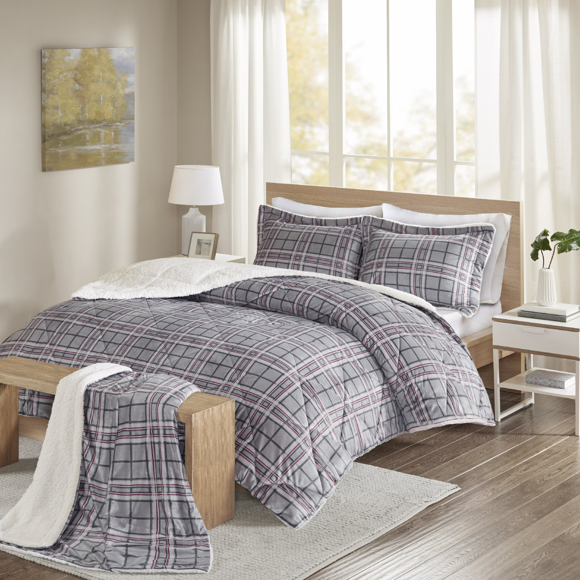 Comfort Spaces - Aaron Sherpa Comforter Set + Throw Combo - 4 Piece - Checker Plaid Pattern - Grey, Red - Full/Queen Size - Ultra Softy, Fluffy, Warm - includes 1 Comforter, 2 Shams, 1 Throw