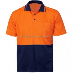 Polyester hi vis work wear shirt with custom logo / high visible polo shirt uniform wholesale