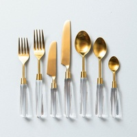Stainless Steel Gold Flatware Set W/Lucite Handle S/5 Pcs.