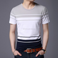 Summer Men T Shirt 2017 New Fashion Striped T-Shirt Men's Slim Fit Short Sleeve Casual Top Tee Shirt Clothing