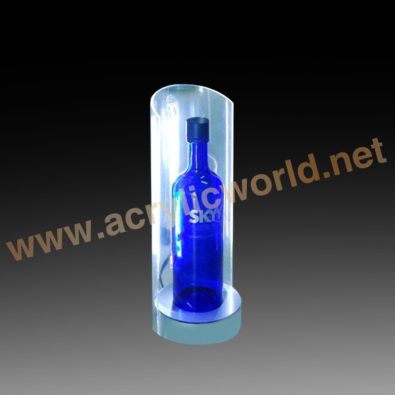 counter acrylic wine bottle led display used in bar