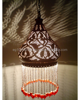 Br207 Antique Bedouin Style Beaded Br Hanging Lamp Shade