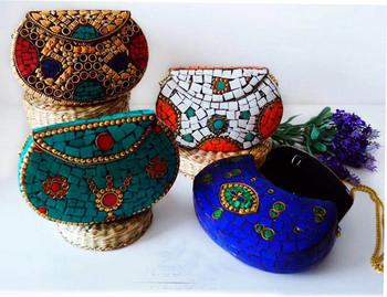 bolsos Colores Moda Metal Buy bolso Embrague Piedra Bolsacaja Indio Y Varios Mosaico De Bolso Diseños P0X8wOkn