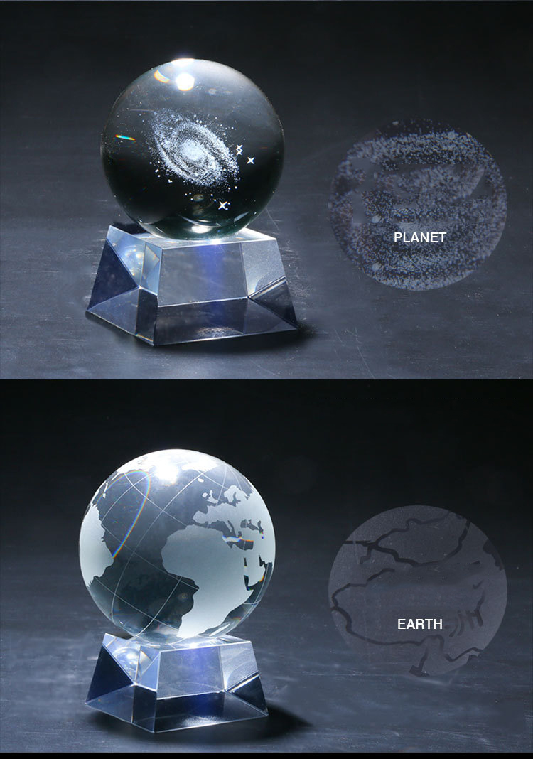 Clear k9 Crystal glow PLANET Ball glass balls with led light base /crystal ball music box /snow crystal ball
