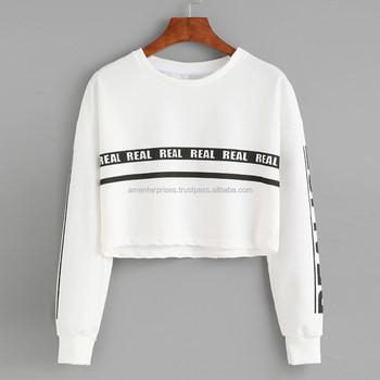 3306884eb47 ladies crop top sweaters -2017 Plain Fleece Cropped Sweatshirts  Oversize  Women s Crop