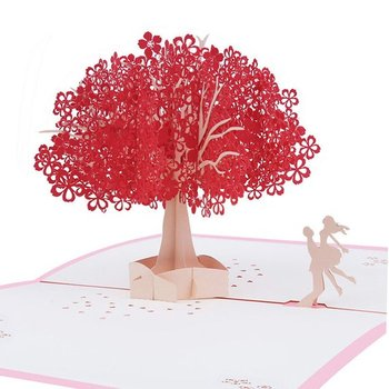 Romantic Birthday Greeting Card Wife Girlfriend Red Cherry Blossom Tree With Dancing Couple Wedding Anniversary