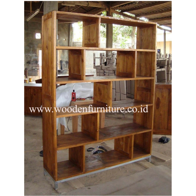 Teak Minimalist Book Case Rustic Showcase Contemporary Shelves Display Cabinet Office Furniture Home Wood
