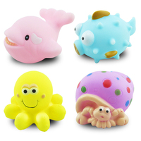 rubber animal water floating baby bath toy