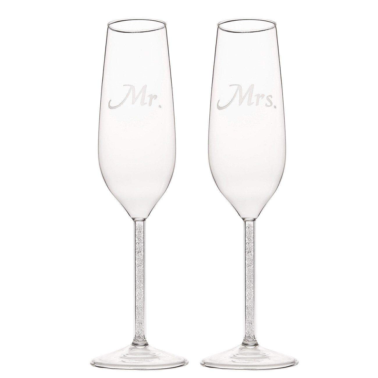 Bride Groom Twisted Champagne Glasses Darice V35922 2Pack