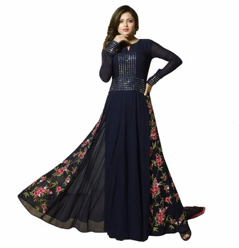 98c92d3a82 Drashti Dhami Dark Blue Colour Semi-Stitched Dress Collection Resham  Embroidery Top With Mirror Work