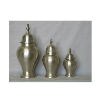 Brass metal cremation urn with pewter finish
