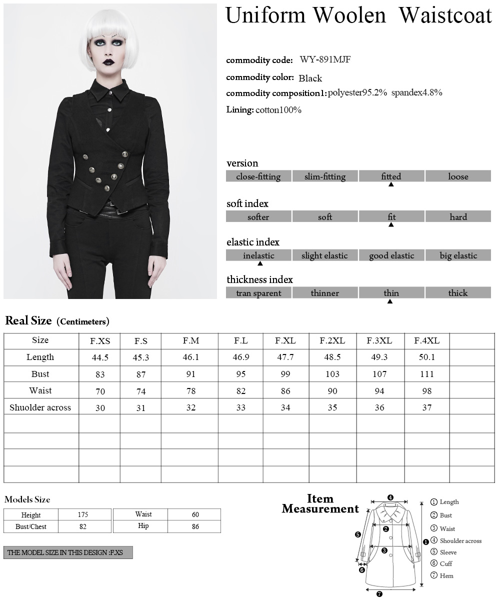 WY-891BK Punk Rave Office lady Military uniform vest two pockets women Gothic waistcoat