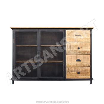 Vintage Industrial Metal Wood Cabinet Metal Wire Mesh Cabinet Rustic Industrial Buy Metal Mesh Storage Cabinet Kitchen Cabinet Industrial Metal Iron