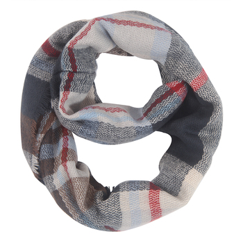 Wholesale custom design 100 polyester women plaid infinity scarf