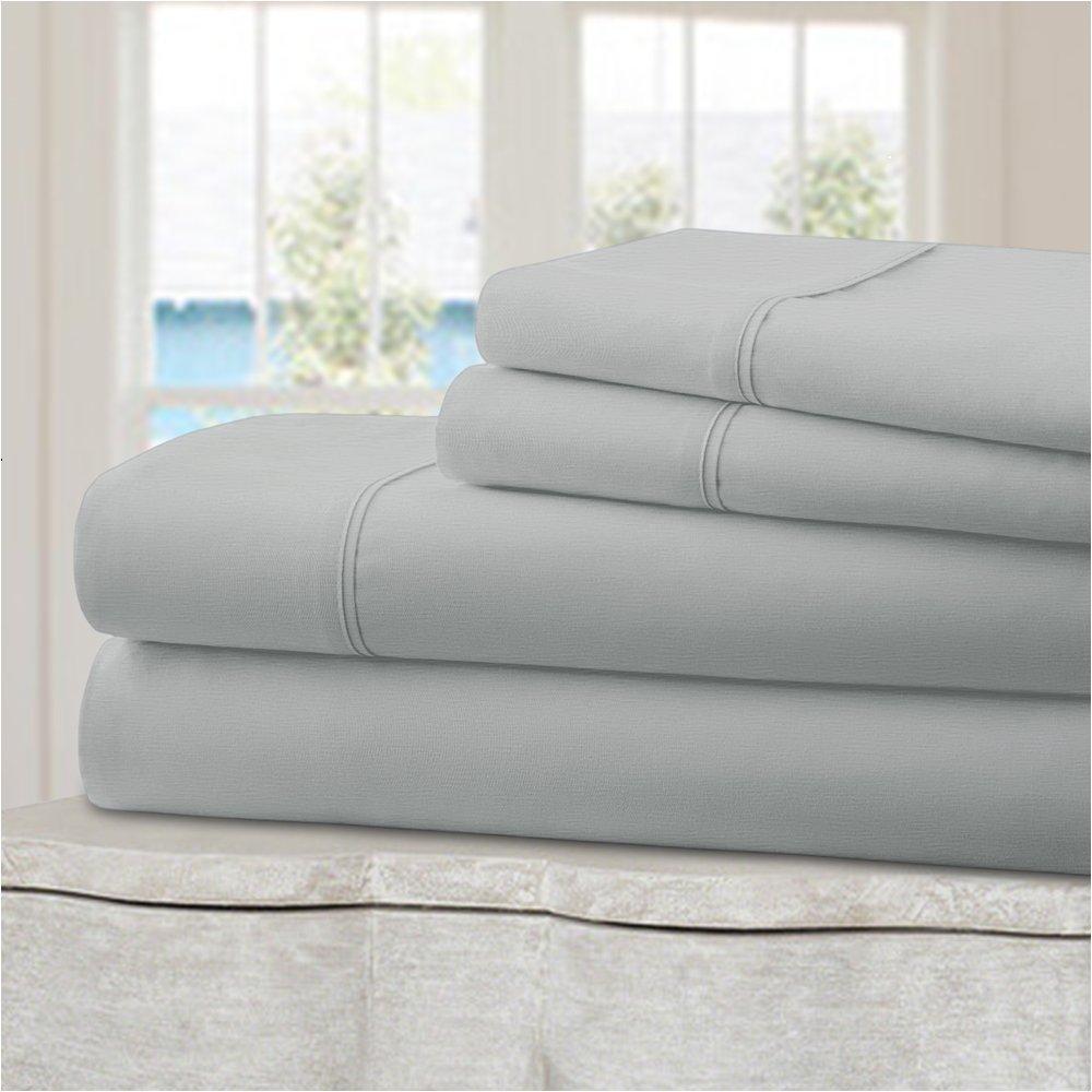 Mellanni 100% Cotton Bed Sheet Set - 300 Thread Count Sateen Weave - Natural, Soft, Deep Pocket Quality Luxury Bedding - 4 Piece (Queen, Light Gray)