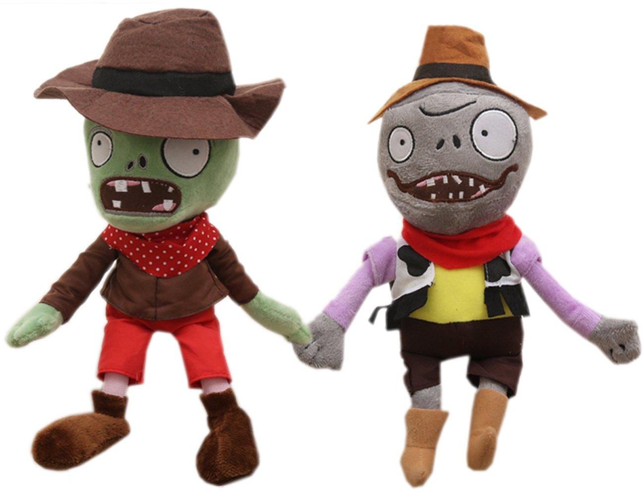 "2 Pcs Zombies Stuffed Animal Plants Plush Toy,Green Cowboy Dwarf Zombies 28cm/11"""