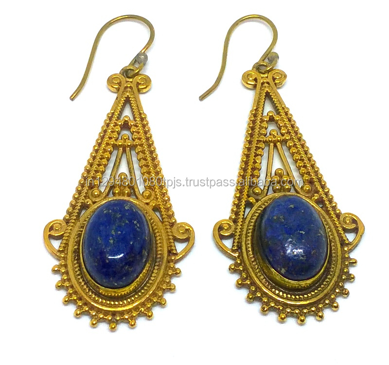 2018 new arrival drop women earring lapis lazuli brass dangle earring