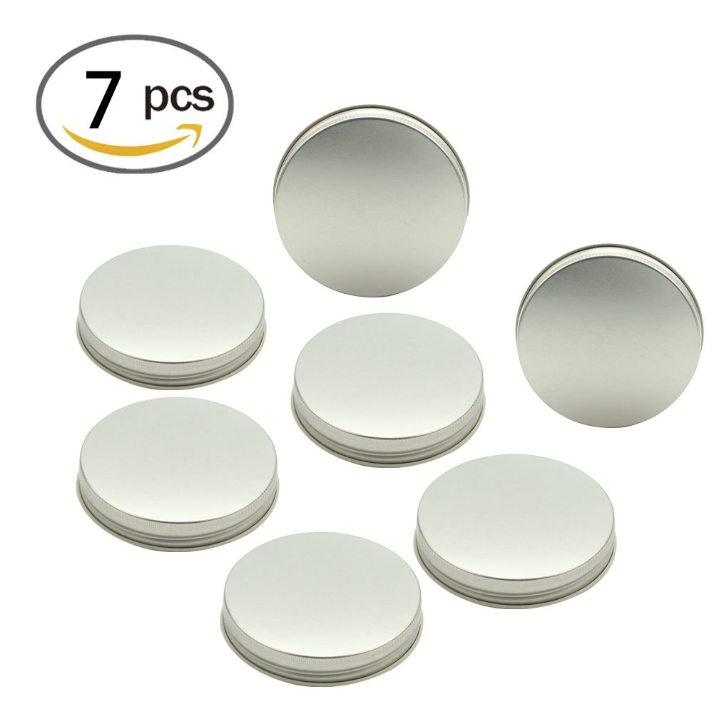 LKXC Silver Wide Mouth Mason Jar Lids With Straw Hole ,Storage Solid Caps 7 Pack