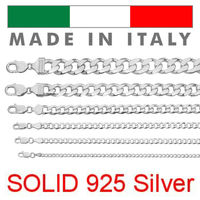 Real Solid 925 Sterling Silver Cuban Chain Men's Women's 2-14mm Italy Necklace - Ships From USA Starting at $0.79/gram
