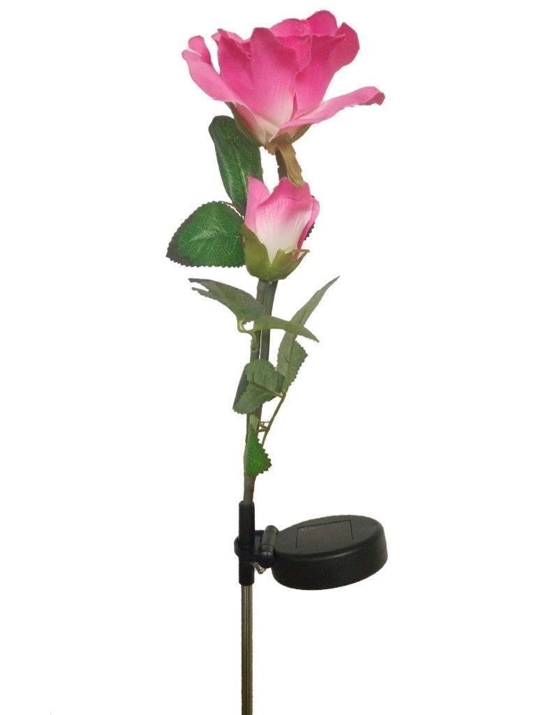 Lightahead® Solar Powered LED Pink Rose Flower Garden Stake, Light Decorative Night Lamp for Garden Party, Festival Christmas House Decoration