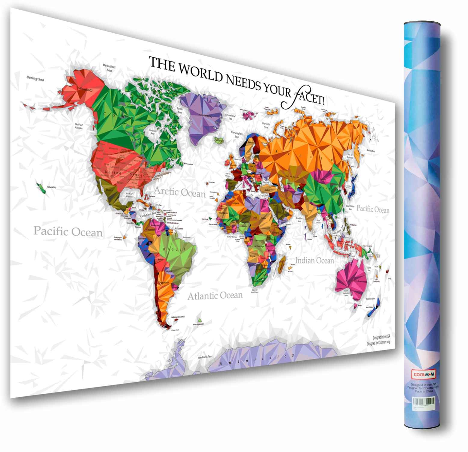 Quot W World Map Laminated on