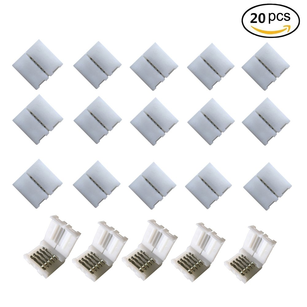 20pcs 5Pin 10MM RGBw 5050 LED Light Strip Solderless Connector Adapter For 5050SMD Non-waterproof RGBW LED Strip (20 Pcs RGBW Connectors)