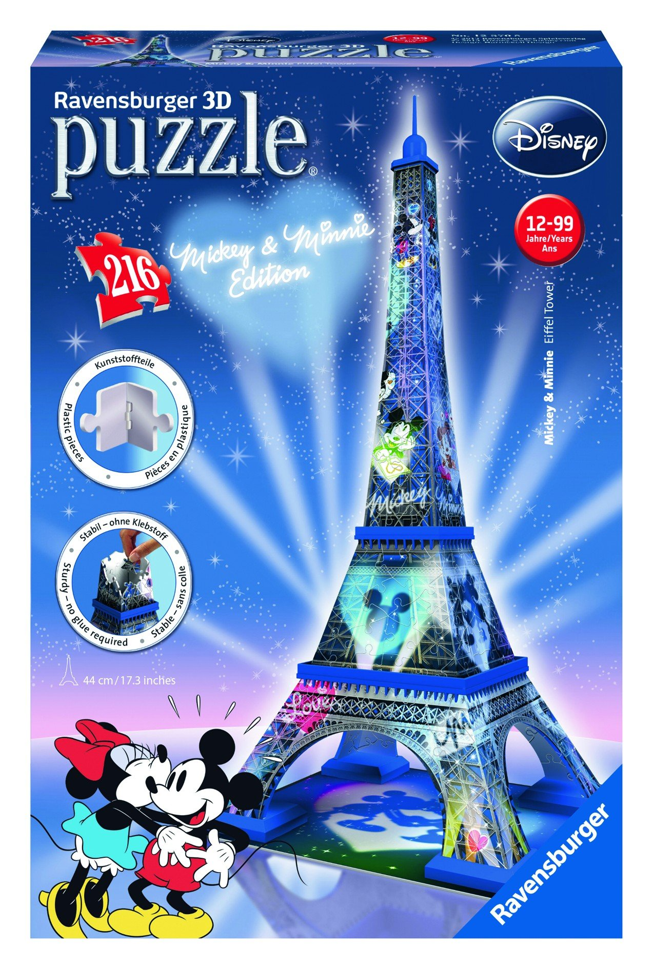49d89f97657 Get Quotations · Ravensburger Mickey and Minnie Eiffel Tower 216 Piece 3D  Jigsaw Puzzle for Kids and Adults -