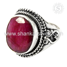 Antique silver ring jewelry 925 sterling ruby gemstone silver ring jewellery handmade wholesaler