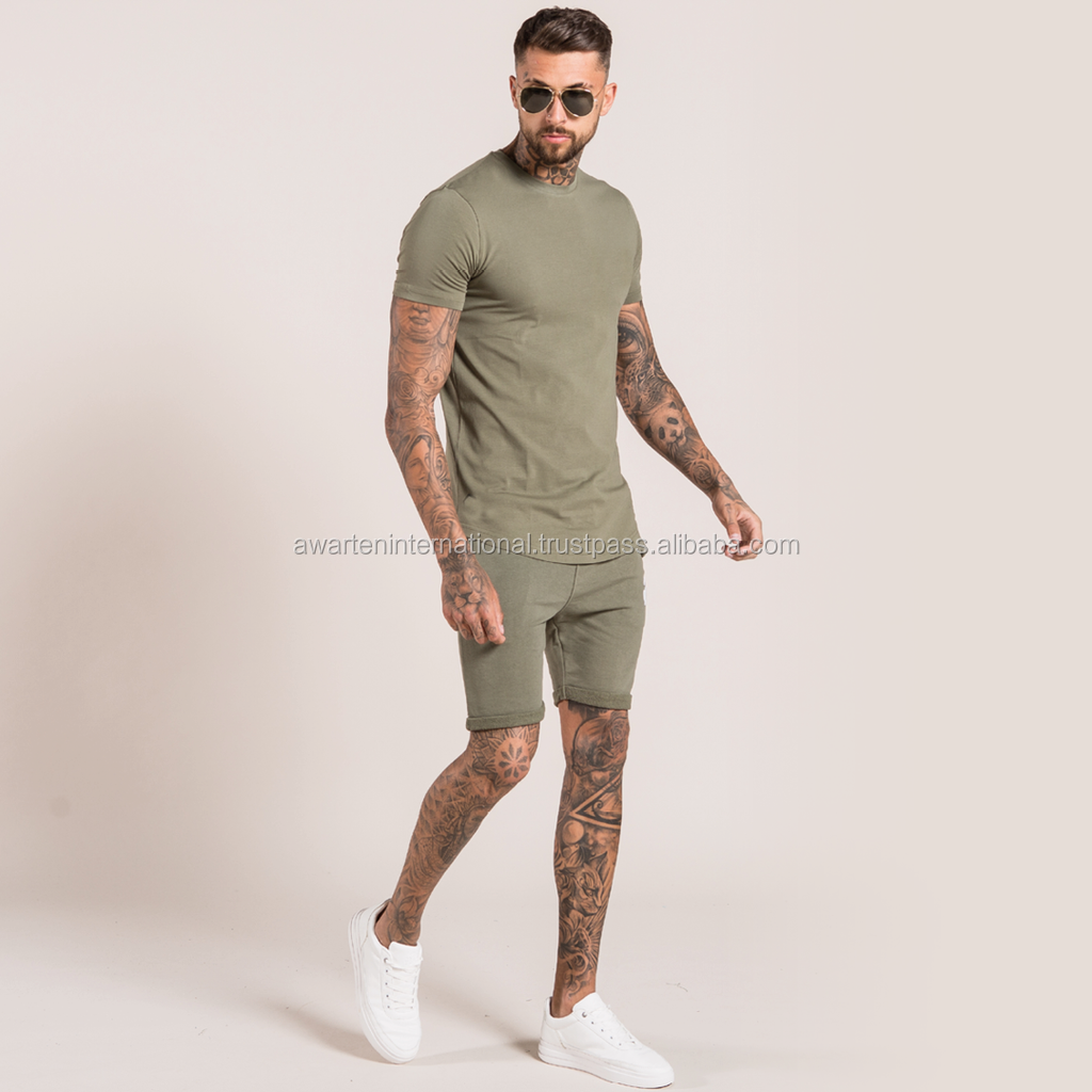 New Arrival Summer Fashion Crew Neck Contrast raglan Sleeve T Shirt and Short Twin Sets