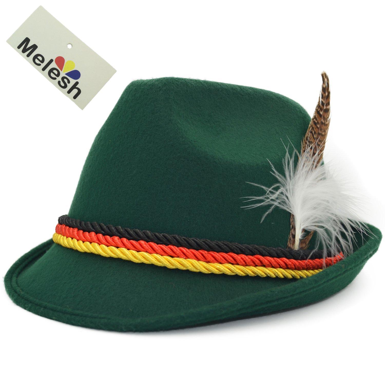 ff11f873d54c46 Get Quotations · Melesh Dark Green German Alpine Oktoberfest Bavarian  Costume Hat with Feather