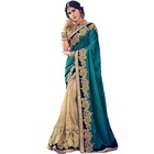 Lovely Peacock Green Gold Party Wear Two Tone Satin Silk Saree