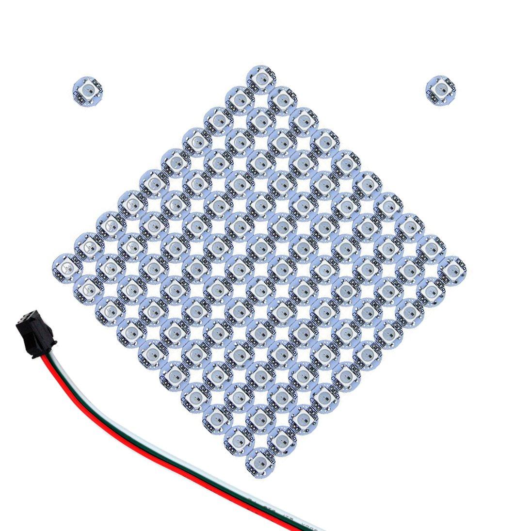 INVOLT 100PCS WS2812B Addressable LED Pixel Light, 5V Full Color 5050 RGB Module with WS2812B IC Built-in, on White Heatsink PCB Board