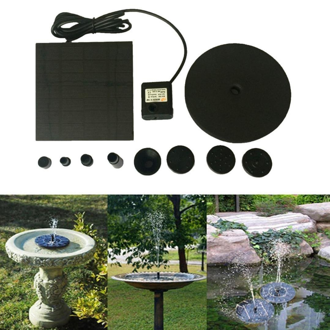 Iusun Floating Solar Bird Bath Fountain Pump for Garden and Patio, Free Standing 1.4W Solar Panel Kit Water Pump, Outdoor Watering Submersible Pump