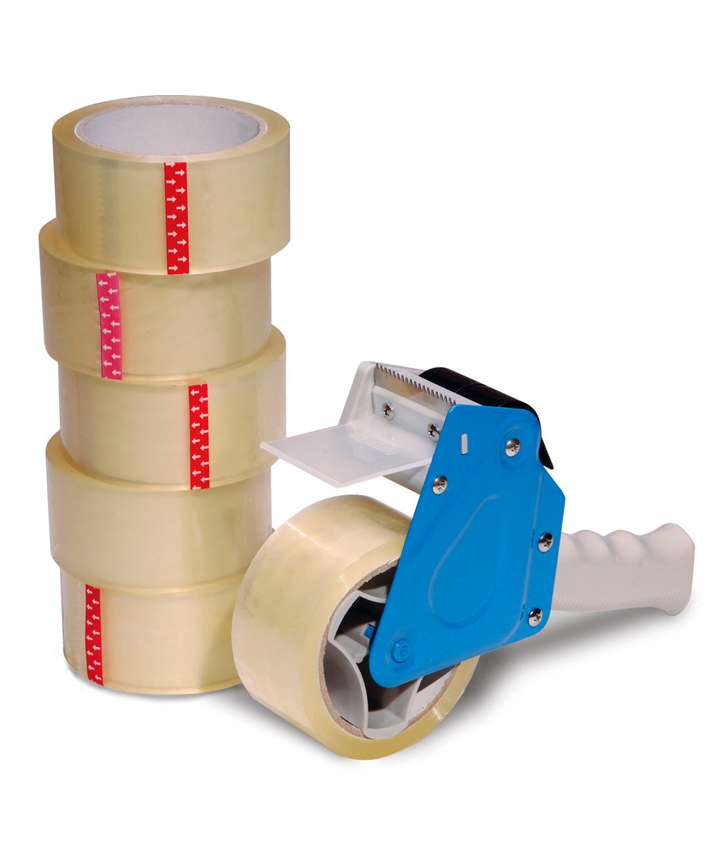 Packing Tape Dispenser Value Pack Incl. 6 Rolls of Tape and Professional Heavy-Duty Tape Gun