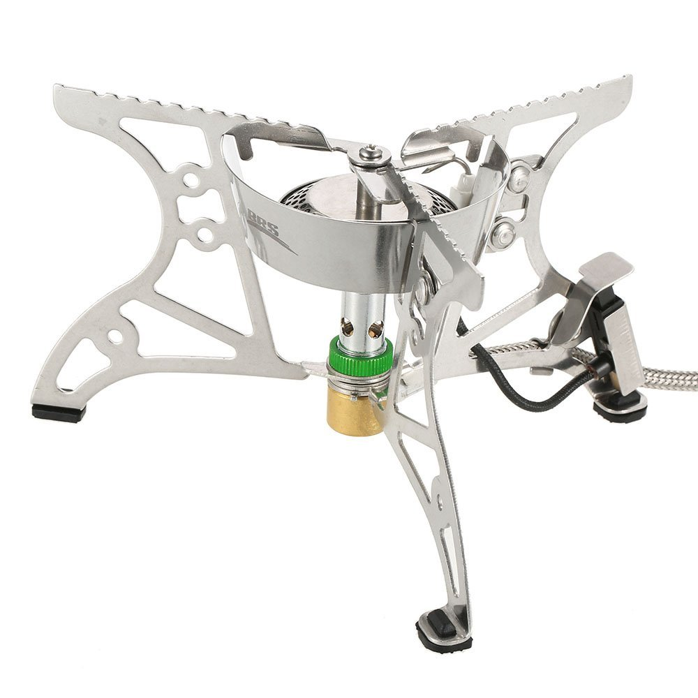 Lixada Folding Camping Stove Ultralight Portable Collapsible Windproof Outdoor Backpacking Cooking Gas Stove with Piezo Ignition