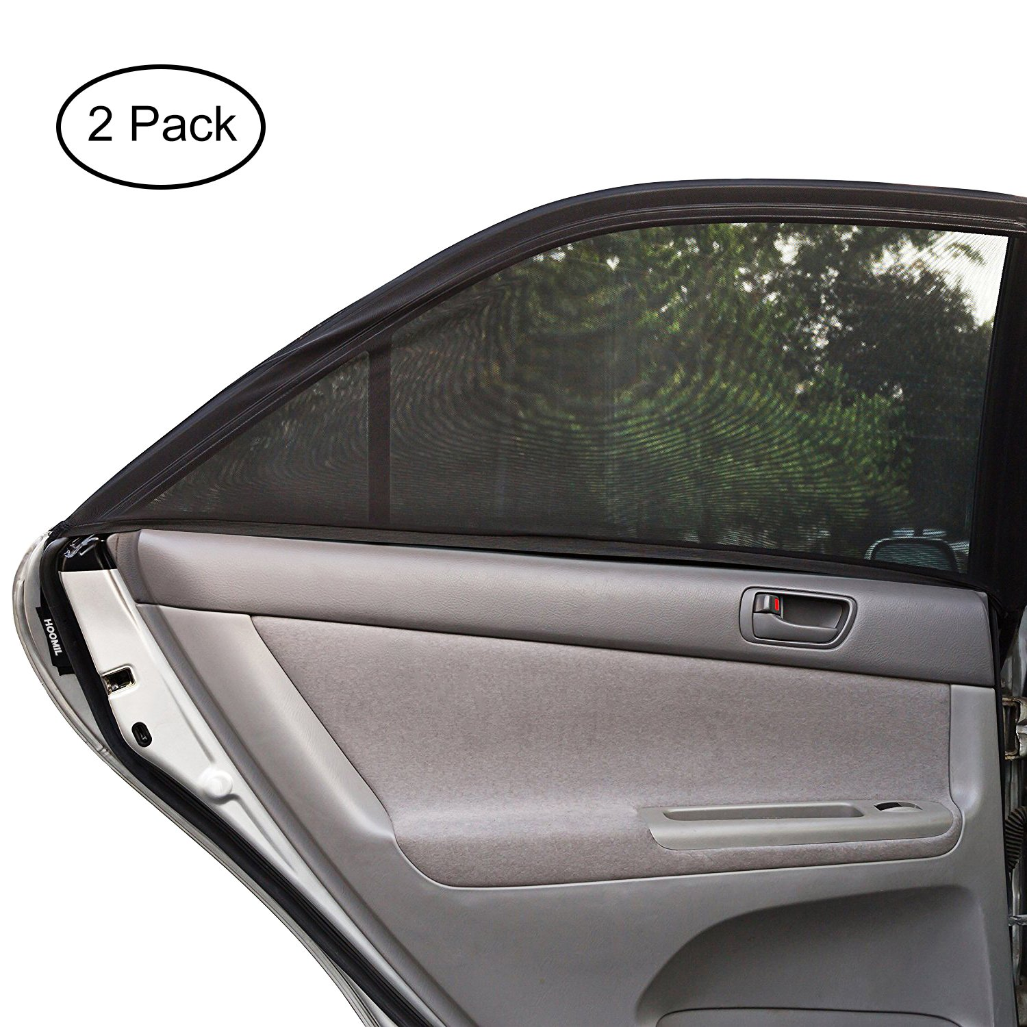 Car Side Window Sun Shade, HOOMIL (2 Pack) Breathable Mesh Baby Sunshade Protector Protects Your Kids and Pets from Sun and Harmful UV Rays Fit For Cars, Trucks and SUV's