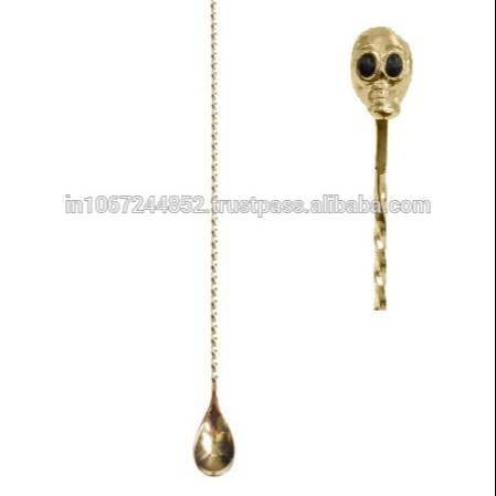 Gold Plated Skull Copper Plated Bar Spoon Bar Bartender Cocktail Stainless  Steel Twisted Handle Mixing Spoon Stirrer - Buy Gold Fishing Spoon