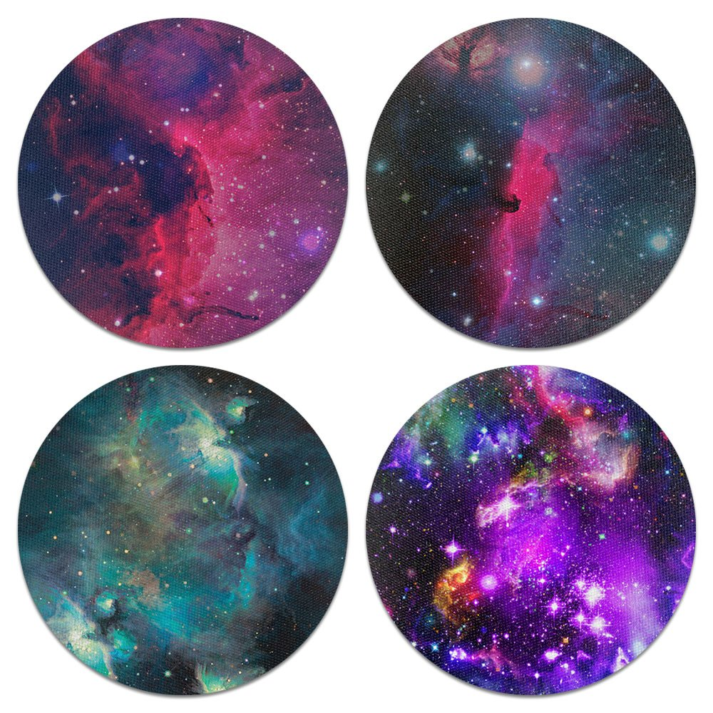 CARIBOU Coasters Purple Marvel Nebula Galaxy Design Absorbent Neoprene Coasters for Drinks, 4pcs Set