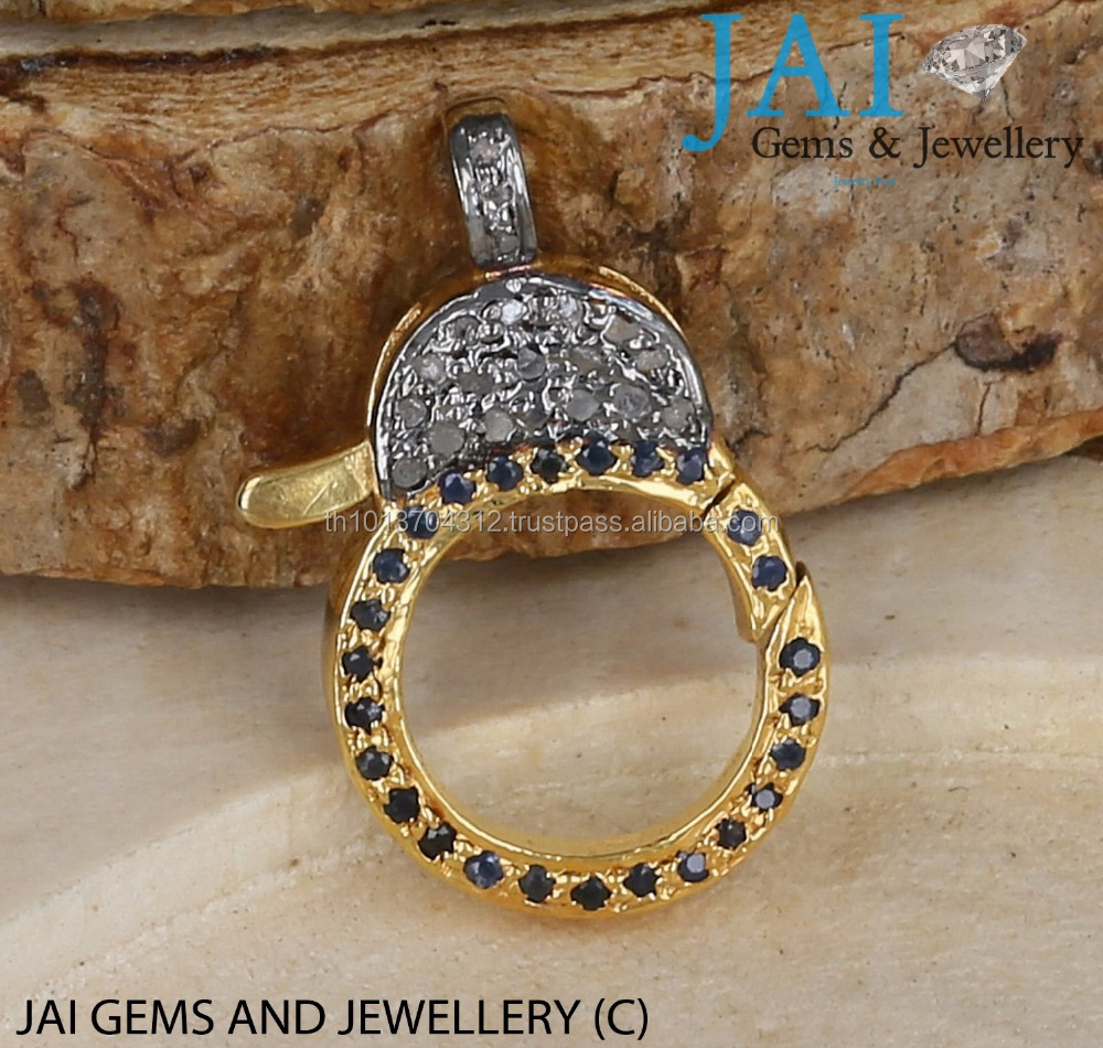 Clasp Pave Diamond Plain Clasp Sterling Silver Oxidised /Gold Vermeil Lobster Clasp Findings 925 Findings Jewelry