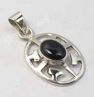 925 Pure Silver CABOCHON BLACK ONYX UNUSUAL CELTIC Pendant 1.2