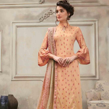 4784c27960 Ravishing Peach Casual Straight Cut Style Suit - Buy Frock Style ...