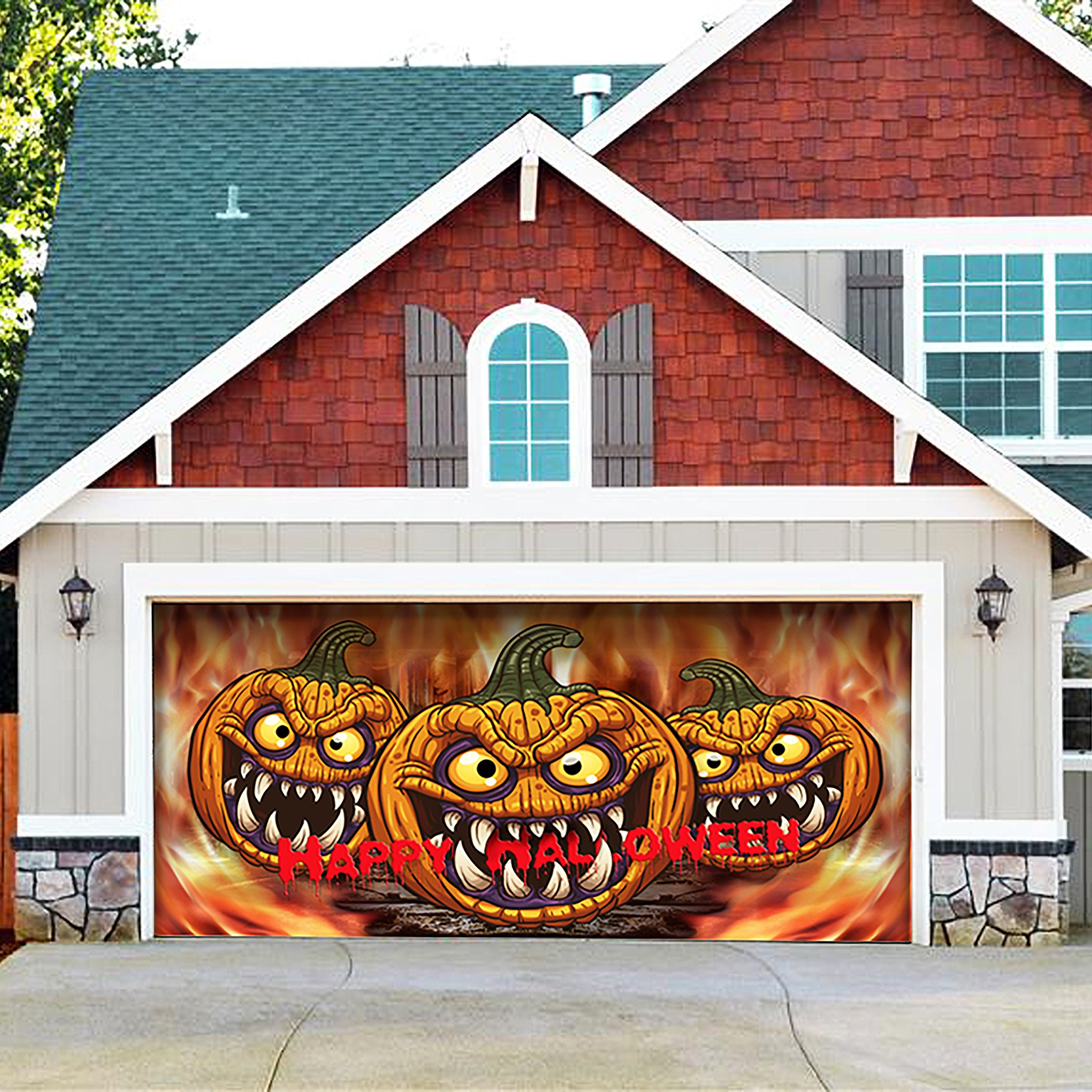 Victory Corps Outdoor Christmas Holiday Garage Door Banner Cover Mural Décoration 7'x16' - Three Scary Pumpkins Outdoor Halloween Garage Door Banner Décor Sign 7'x16'
