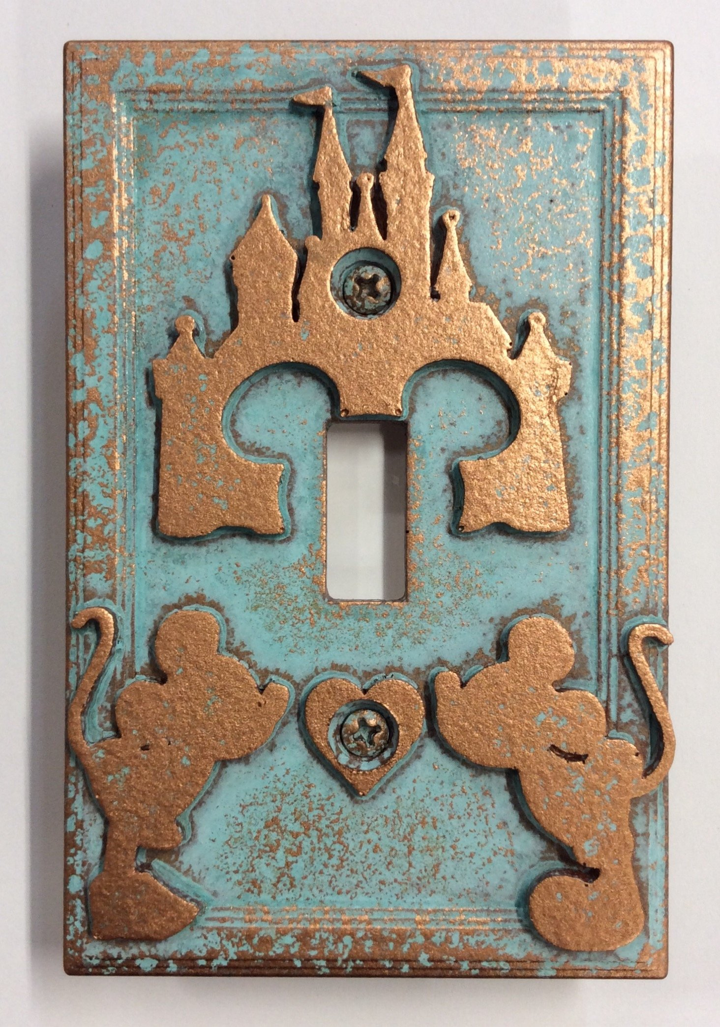 Disney Castle (Mickey & Minnie) - Light Switch Cover (Aged Copper)