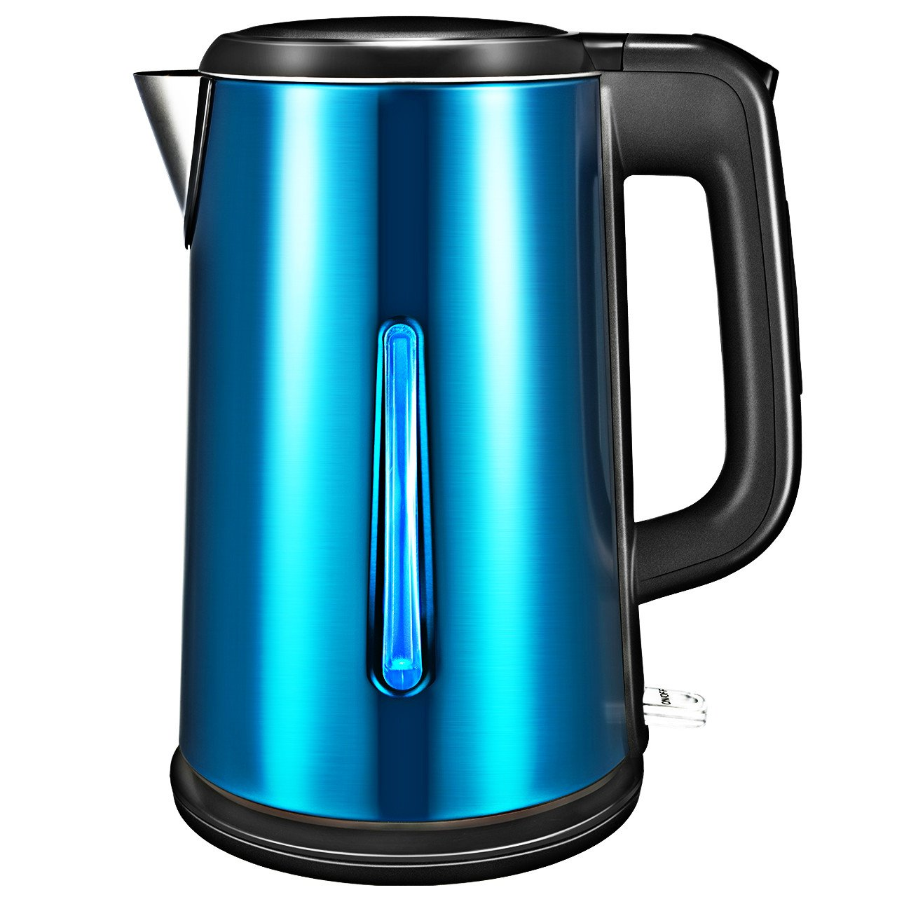 Electric Kettle, ElleSye 1.8 Liter Stainless Steel Kettle Fast Boiling Double-Walled Cordless Hot Water Kettle with Auto Shutoff, Boil Dry Protection, Blue LED Illumination