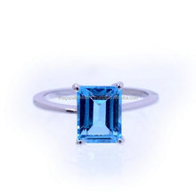 Blue Topaz Ring, Topaz Solitaire Ring Emerald Cut Fancy Ring topaz solid gold