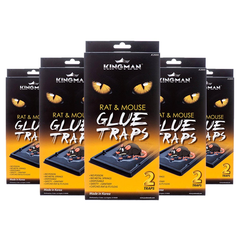 KINGMAN Mouse Trap Rat Trap Glue Trap/Board (Large Size) (5 Pack / 10 Traps) Rodent Trap Safe Easy Non-toxic