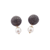 Black Diamond Silver Pave Ball Stud Pearl Earrings