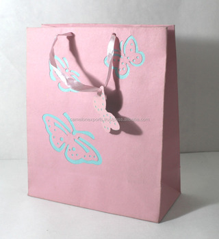 Decoration recycled handmade recycled cotton paper shopping gift bag